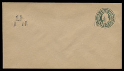 U.S. Scott # U 519x/10, UPSS 3244x/UNWMKD, 1925 1 1/2c (Type 9 Sch) on 1c (U424) Franklin, green on manila, Die 1, Two Surcharges - Mint (See Warranty)