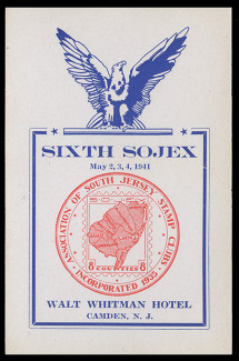 SOJEX 1941 (6th) Stamp Show, Map of South Jersey