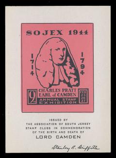 SOJEX 1944 (9th) Stamp Show, Charles Pratt, Earl of Camden