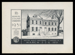 SOJEX 1951 (16th) Stamp Show, Birhplace of James Fenimore Cooper