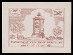 SOJEX 1954 (19th) Stamp Show, Tea Burners Monument, Greenwich NJ