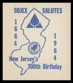 SOJEX 1964 (29th) Stamp Show, New Jersey's 300th Birthday