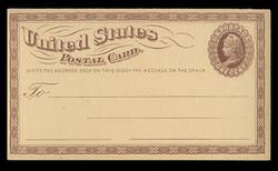 U.S. Scott # UX   3, 1873 1c Liberty Head, brown on buff with Small Watermark - Mint Postal Card
