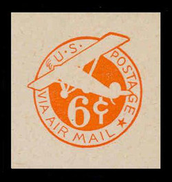 U.S. Scott # UC  5N 1944 6c Plane, Orange Background, Die 2c, NO Border - Mint Cut Square