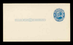 U.S. Scott # UX  21, 1910 1c William McKinley, Background Lines, blue on blue/grey - Mint Postal Card