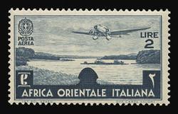 ITALIAN EAST AFRICA Scott # C 7, 1938 2.00 lire slate blue Airplane/Lake Tsana