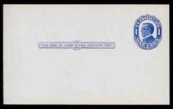 U.S. Scott # UX  22, 1910 1c William McKinley, NO Background Lines, blue on blue/grey - Mint Postal Card
