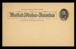 U.S. Scott # UX  10T1, 1891 1c Ulysses S. Grant, black on buff, Type I - Mint Postal Card (See Warranty)