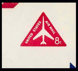 "U.S. Scott # UC 37g 1965 8c Jet Airliner, Red, ""Border 7"" Error - Mint Cut Square (See Warranty)"
