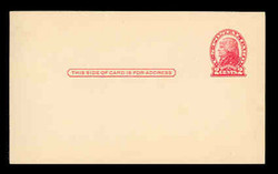 U.S. Scott # UX  30, 1918 2c Thomas Jefferson, red on cream, Die 2 - Mint Postal Card
