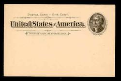 U.S. Scott # UX  12, 1894 1c Thomas Jefferson, black on buff - Mint Postal Card