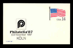 U.S. Scott # UX 117PHIL, 1987 14c Stars and Stripes, PHILATELIA '87 Overprint - Mint  Show Logo Postal Card