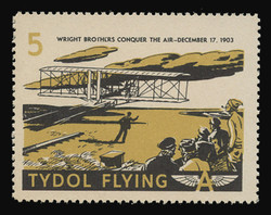"Tydol Flying ""A"" Poster Stamps of 1940 - # 5, Wright Brothers Conquer the Air - 1903"