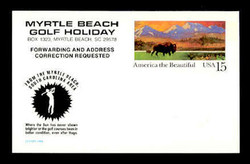 U.S. Scott # UX 120HUGO, 1988 15c America the Beautiful, HUGO/MYRTLE BEACH Overprint - Mint Postal Card