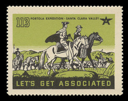 Associated Oil Company Poster Stamps of 1938-9 - #113, Portola Exped. - Santa Clara Valley