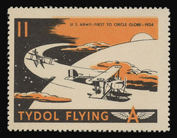 "Tydol Flying ""A"" Poster Stamps of 1940 - #11, U.S. Army - First to Circle the Globe, 1924"