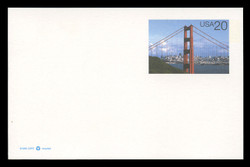U.S. Scott # UX 282, 1997 20c Golden Gate Bridge in Daylight - Mint Postal Card