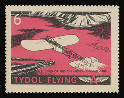"Tydol Flying ""A"" Poster Stamps of 1940 - # 6, Bleriot Flies the English Channel - 1909"