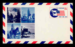 U.S. Scott # UXC  5 1966 11c Visit the U.S.A., Flag and Map - Mint Postal Card, DULL PAPER