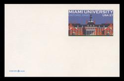 U.S. Scott # UX 554, 2009 27c Miami University, Oxford, Ohio - Mint Postal Card