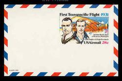 U.S. Scott # UXC 19, 1981 28c First Transacific Flight - Mint Postal Card