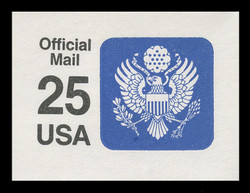 U.S. Scott # UO 078 1988 25c Official Mail, detailed background, thick lines - Mint Cut Square