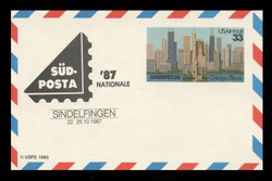 U.S. Scott # UXC 23SUDSHIFT, 1986 33c AMERIPEX '86, SUDPOSTA '87 Overprint - Mint.  Scarce Error.  Overprint shifted up 10-15mm. - Mint Show Logo Postal Card