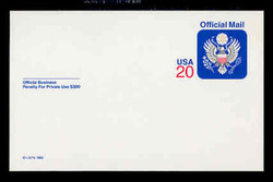 U.S. Scott # UZ 06, 1995 20c Official Mail, white on blue, value in red - Mint Postal Card