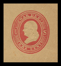 U.S. Scott # UO 046 1875 1c Franklin, red on manila - Mint Cut Square