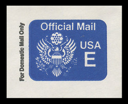 "U.S. Scott # UO 076 1988 (25c) Official Mail, ""E"" Rate - Mint Cut Square"