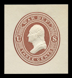 U.S. Scott # UO 020VDR 1873 3c Washington, very dark red on white - Mint Cut Square