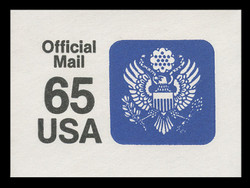 U.S. Scott # UO 080 1990 65c Official Mail, small lettering illegible - Mint Cut Square