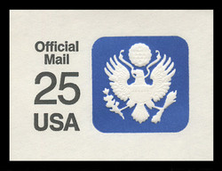 U.S. Scott # UO 077 1988 25c Official Mail, white background, thin lines - Mint Cut Square