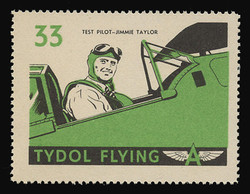 "Tydol Flying ""A"" Poster Stamps of 1940 - #33, Test Pilot - Jimmie Taylor"