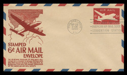 U.S. Scott #UC18 6c DC-4 Skymaster Envelope First Day Cover.  Anderson cachet, RED variety.