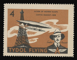 "Tydol Flying ""A"" Poster Stamps of 1940 - # 4, Santos Dumont, Father of Modern Blimps"