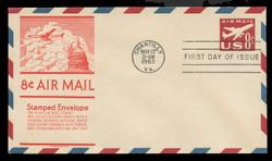 U.S. Scott #UC36 8c Jet Envelope First Day Cover.  Anderson cachet, ORANGE variety.