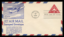 U.S. Scott #UC37 8c Jet in Triangle Envelope First Day Cover.  Anderson cachet, BLUE variety.
