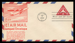 U.S. Scott #UC37 8c Jet in Triangle Envelope First Day Cover.  Anderson cachet, ORANGE variety.
