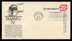 U.S. Scott #U565 8c TRANSPO '72 Envelope First Day Cover.  Anderson cachet, BLACK variety.