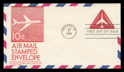 U.S. Scott #UC40 10c Jet in Triangle Envelope First Day Cover.  Anderson cachet, RED variety.