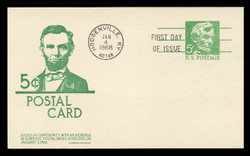 U.S. Scott #UX55 5c Abraham Lincoln Postal Card First Day Cover.  Anderson cachet, GREEN variety.