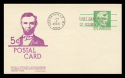 U.S. Scott #UX55 5c Abraham Lincoln Postal Card First Day Cover.  Anderson cachet, VIOLET variety.