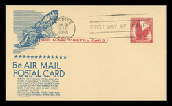 U.S. Scott #UXC 2 5c Eagle Airmail Postal Card First Day Cover.  Anderson cachet, BLUE variety.
