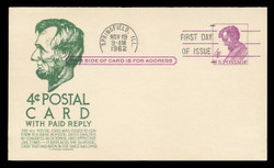 U.S. Scott #UY18 4c Abraham Lincoln Reply Card First Day Cover.  Anderson cachet, GREEN variety.