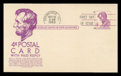 U.S. Scott #UY18 4c Abraham Lincoln Reply Card First Day Cover.  Anderson cachet, VIOLET variety.