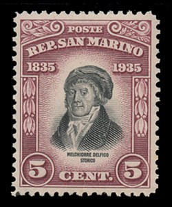 SAN MARINO Scott #  169, 1935 5c Melchiorre Delfico, brown lake