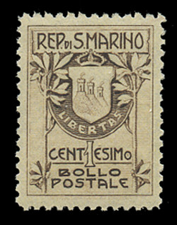 SAN MARINO Scott #   78a, 1910 1c Coat of Arms, brown, Type 1 (18½ mm)