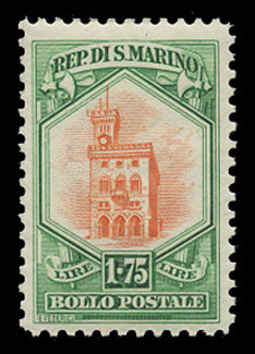 SAN MARINO Scott #  125, 1929 1.75 lire Government Palace, green & orange