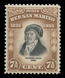SAN MARINO Scott #  170, 1935 7½c Melchiorre Delfico, light brown
